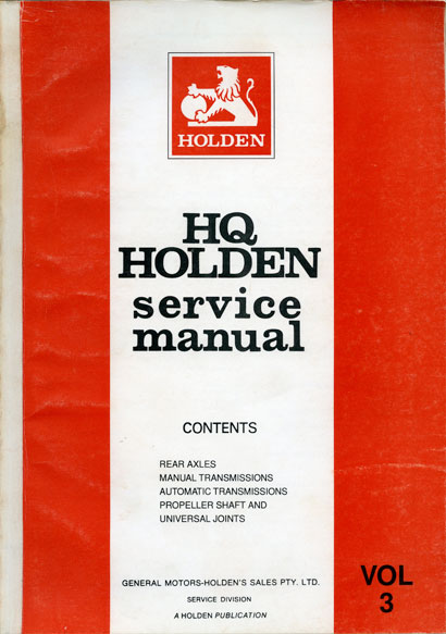 HQ Holden Service Manual - Volume 3