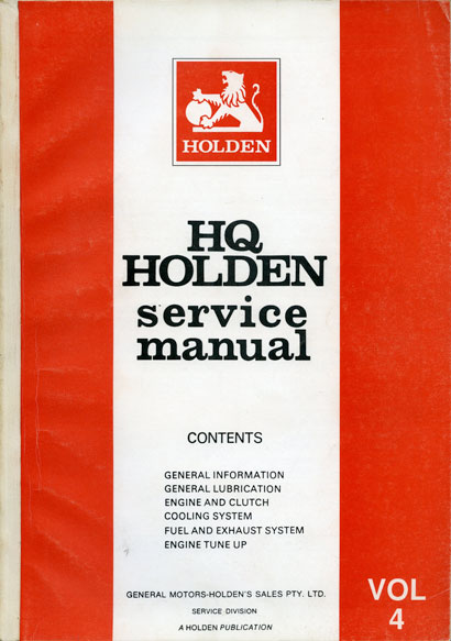HQ Holden Service Manual - Volume 4