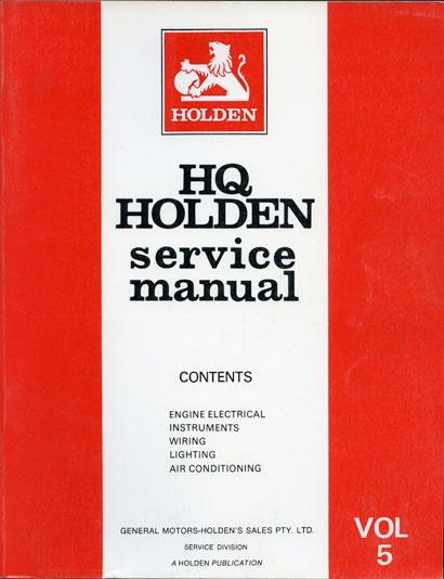HQ Holden Service Manual - Volume 5